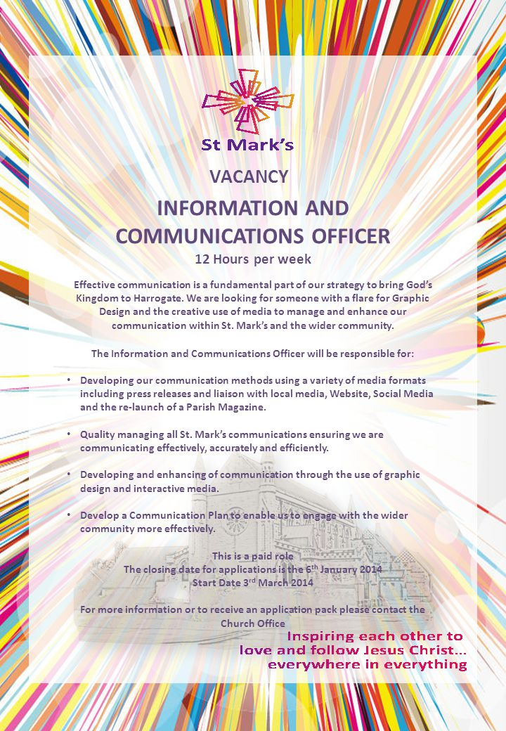 RESOURCES COORDINATOR 4 Hours per week VACANCY We have an abundance of resources available at St.