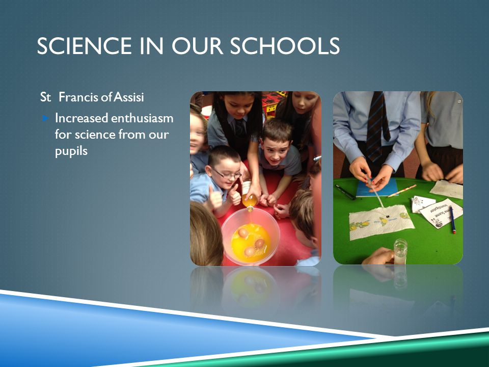 SCIENCE IN OUR SCHOOLS St Francis of Assisi  Increased enthusiasm for science from our pupils