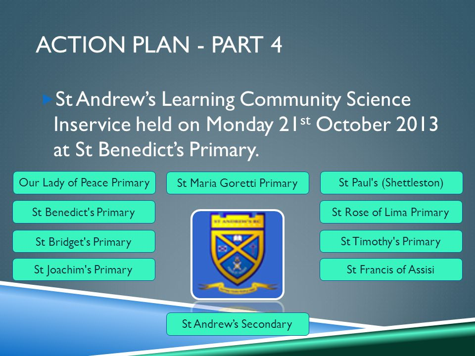 ACTION PLAN - PART 4  St Andrew's Learning Community Science Inservice held on Monday 21 st October 2013 at St Benedict's Primary.