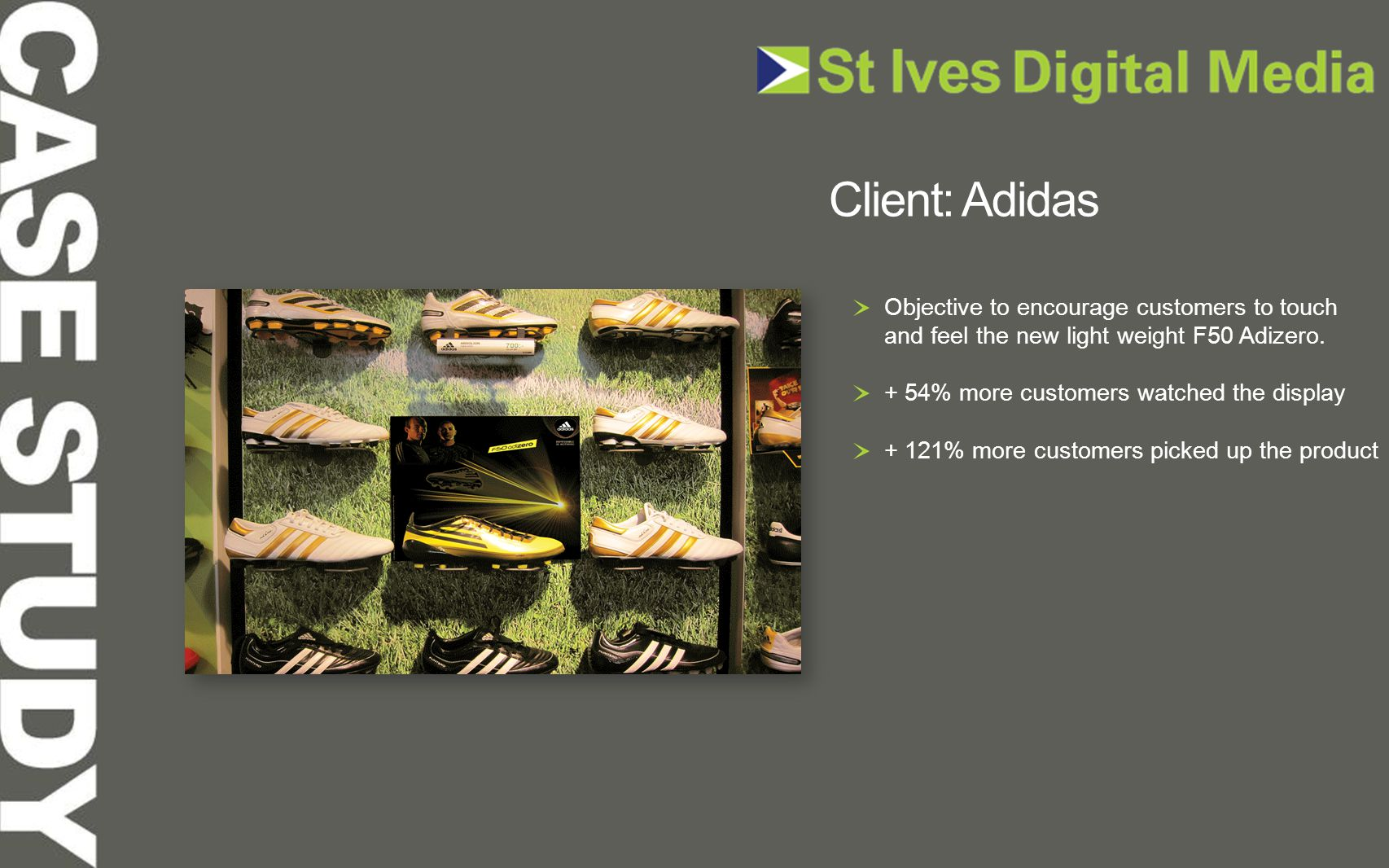 Objective to encourage customers to touch and feel the new light weight F50 Adizero. + 54% more customers watched the display + 121% more customers pi
