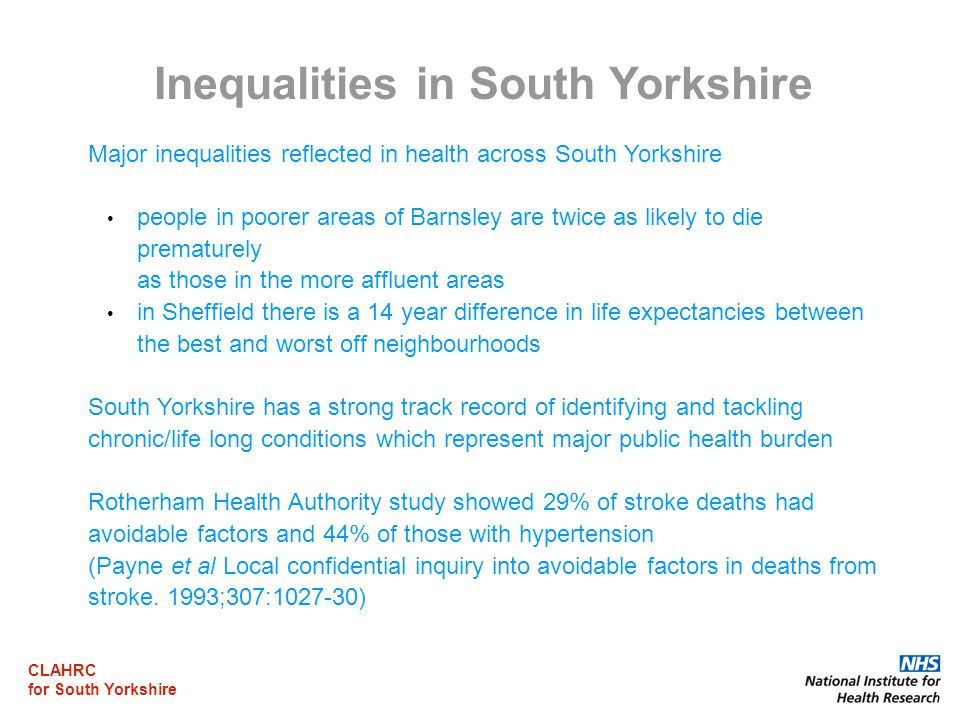 CLAHRC for South Yorkshire Major inequalities reflected in health across South Yorkshire people in poorer areas of Barnsley are twice as likely to die prematurely as those in the more affluent areas in Sheffield there is a 14 year difference in life expectancies between the best and worst off neighbourhoods South Yorkshire has a strong track record of identifying and tackling chronic/life long conditions which represent major public health burden Rotherham Health Authority study showed 29% of stroke deaths had avoidable factors and 44% of those with hypertension (Payne et al Local confidential inquiry into avoidable factors in deaths from stroke.