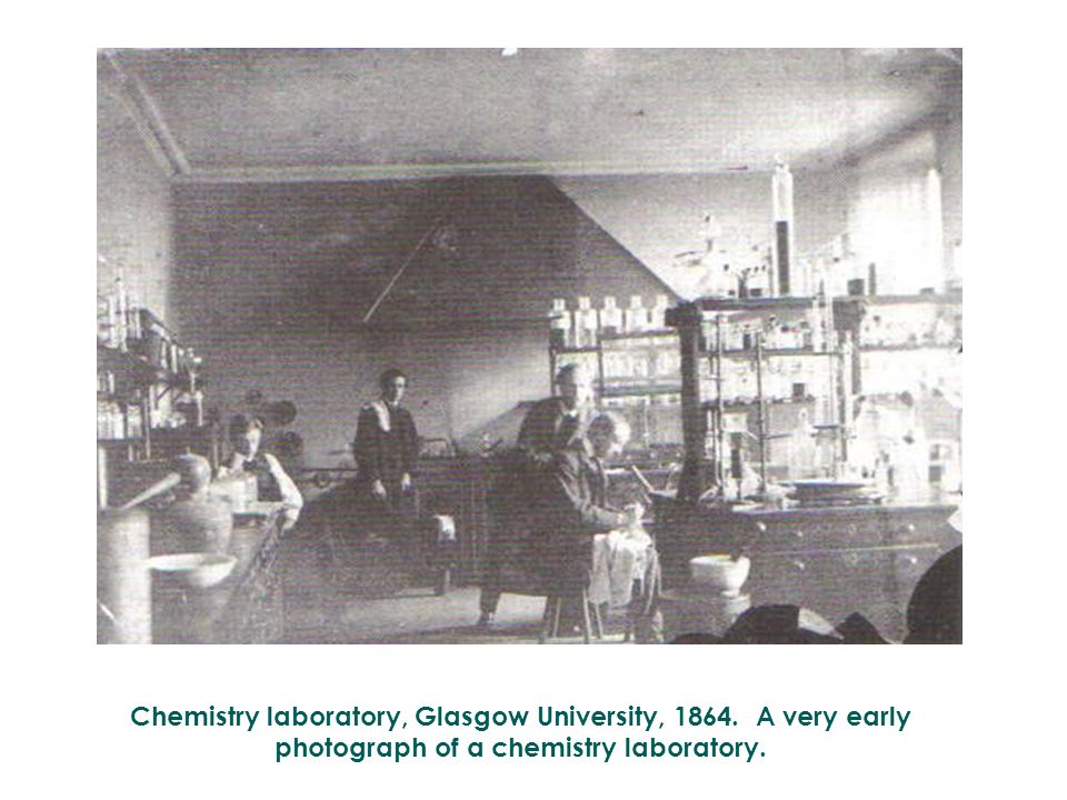 Chemistry laboratory, Glasgow University, 1864. A very early photograph of a chemistry laboratory.