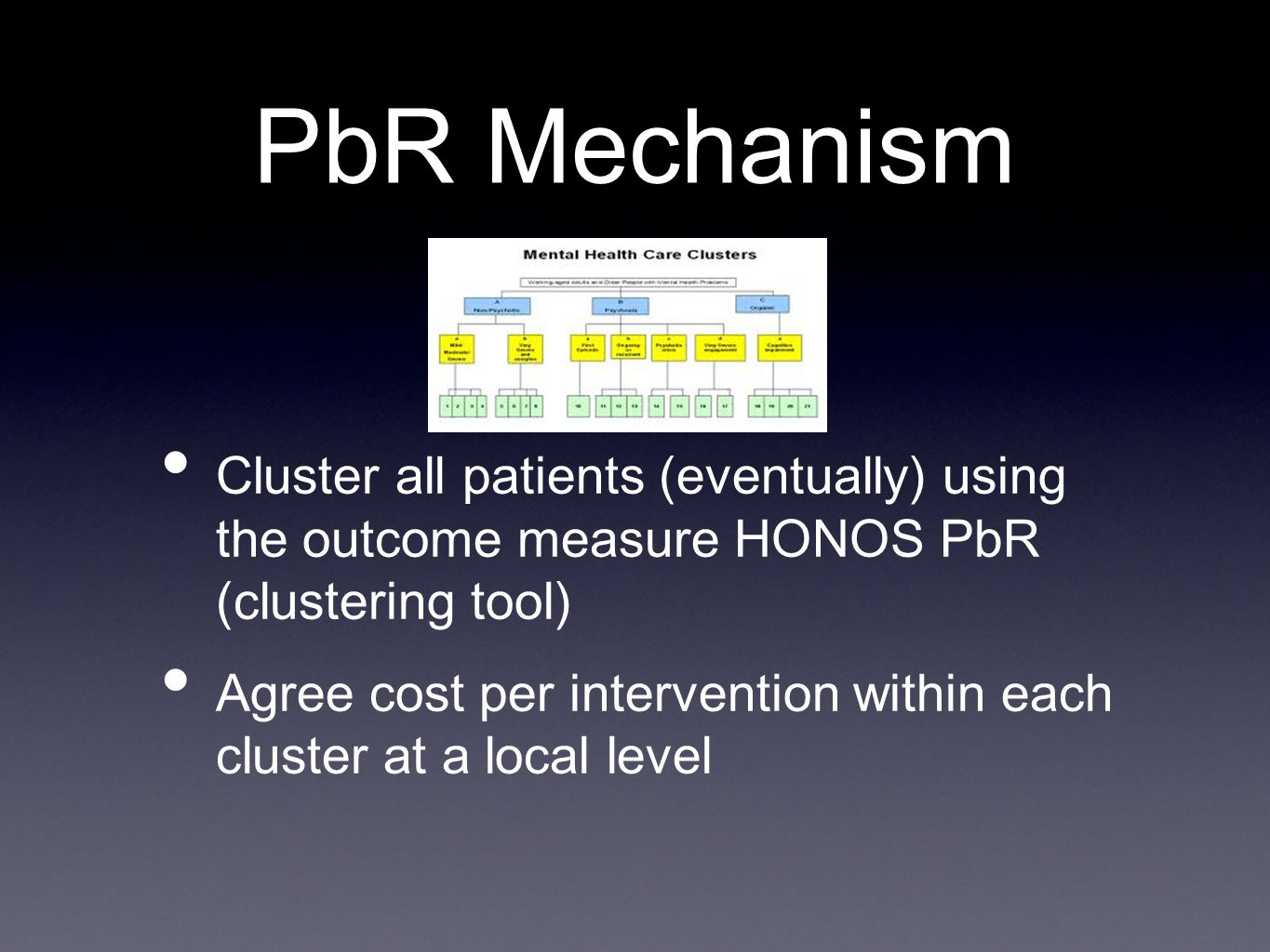 PbR Mechanism Cluster all patients (eventually) using the outcome measure HONOS PbR (clustering tool) Agree cost per intervention within each cluster at a local level