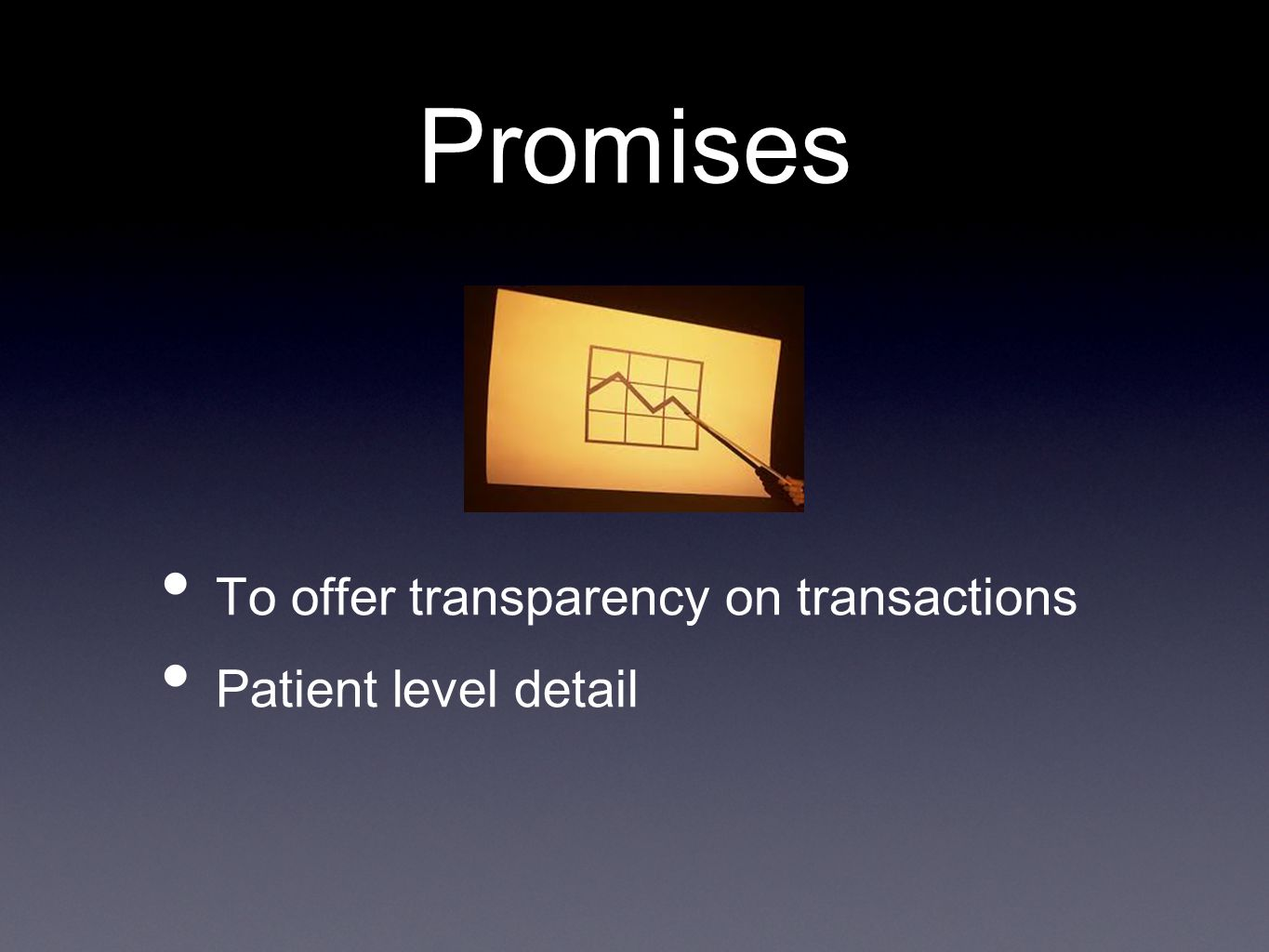 Promises To offer transparency on transactions Patient level detail