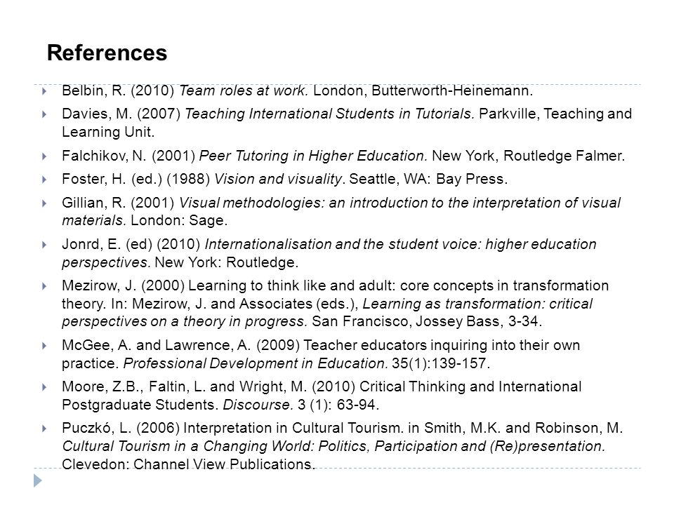  Belbin, R. (2010) Team roles at work. London, Butterworth-Heinemann.