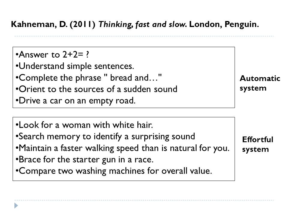Kahneman, D. (2011) Thinking, fast and slow. London, Penguin.