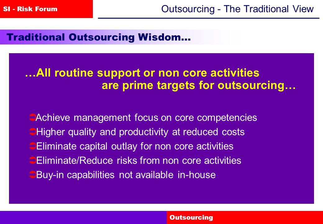 SI - Risk Forum Outsourcing Outsourcing - The Traditional View Traditional Outsourcing Wisdom… …All routine support or non core activities are prime targets for outsourcing…  Achieve management focus on core competencies  Higher quality and productivity at reduced costs  Eliminate capital outlay for non core activities  Eliminate/Reduce risks from non core activities  Buy-in capabilities not available in-house