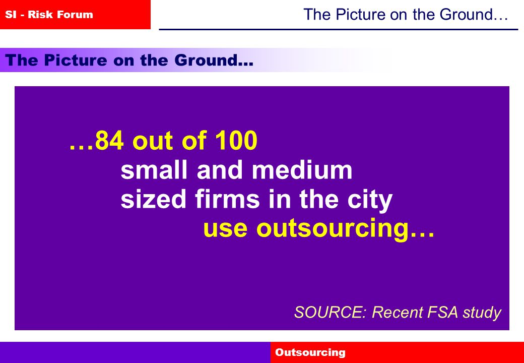 SI - Risk Forum Outsourcing The Picture on the Ground… …84 out of 100 small and medium sized firms in the city use outsourcing… SOURCE: Recent FSA study