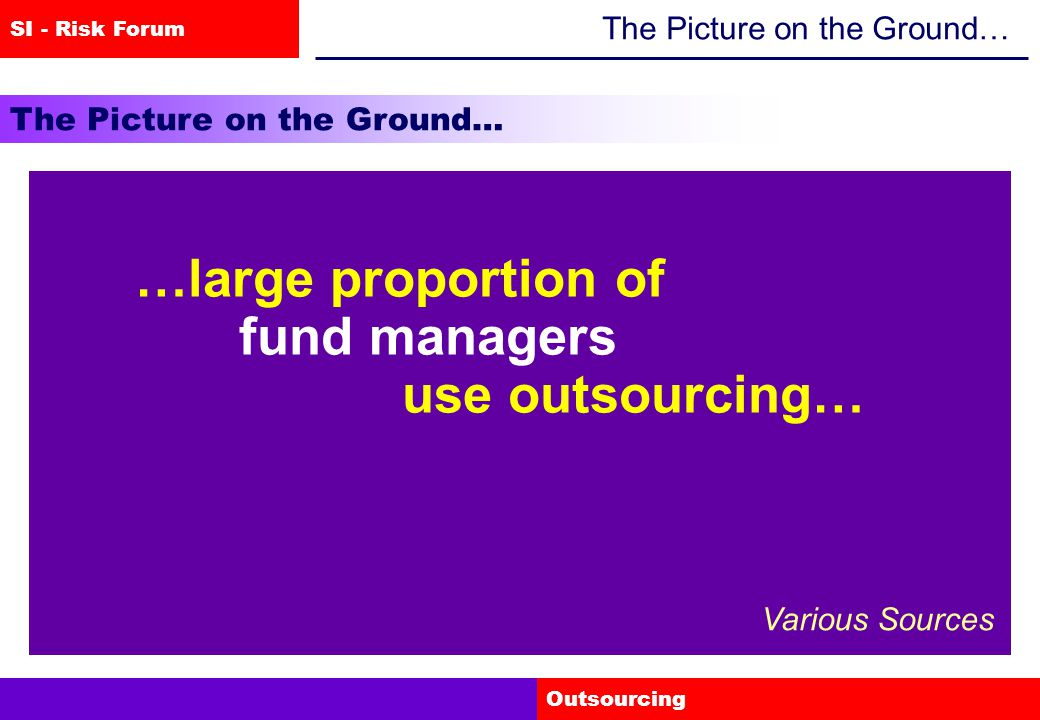 SI - Risk Forum Outsourcing The Picture on the Ground… …the message we are getting is that outsourcing is increasing at a very substantial pace… Hector Sants 28-09-04
