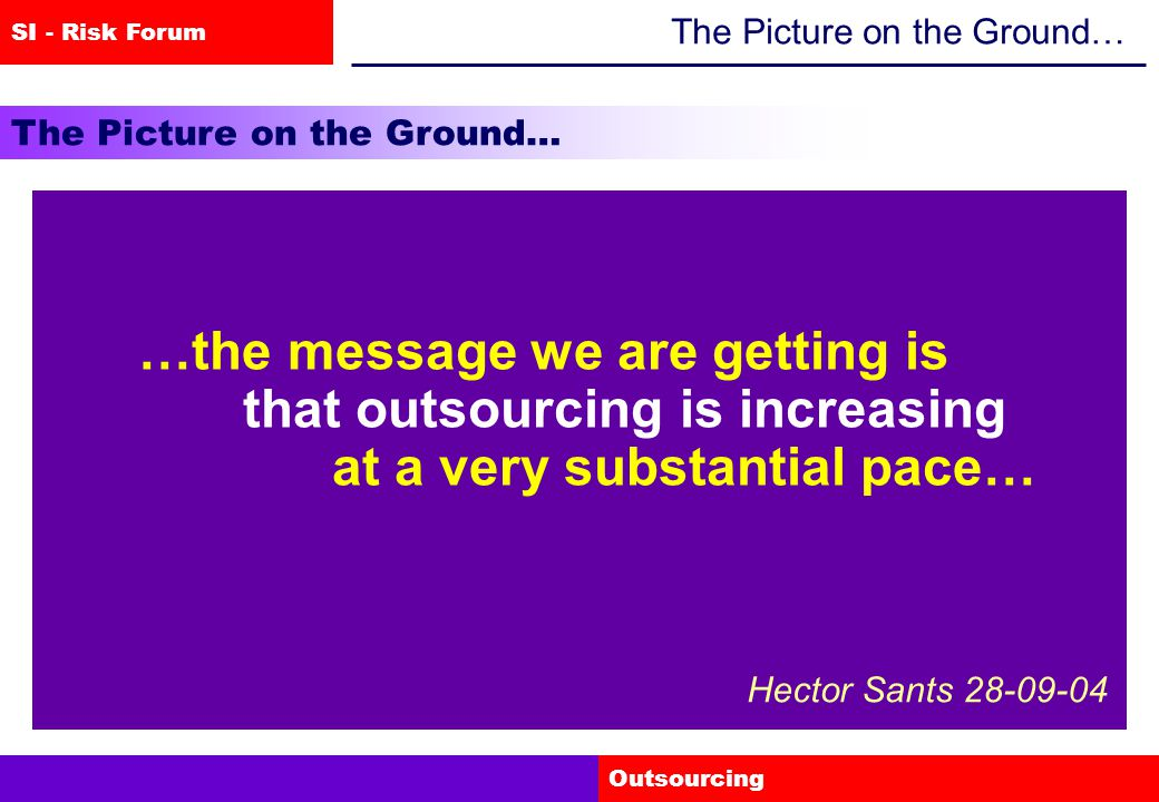 SI - Risk Forum Outsourcing The Picture on the Ground… …and some firms are now reporting problems to us… Hector Sants 28-09-04 !