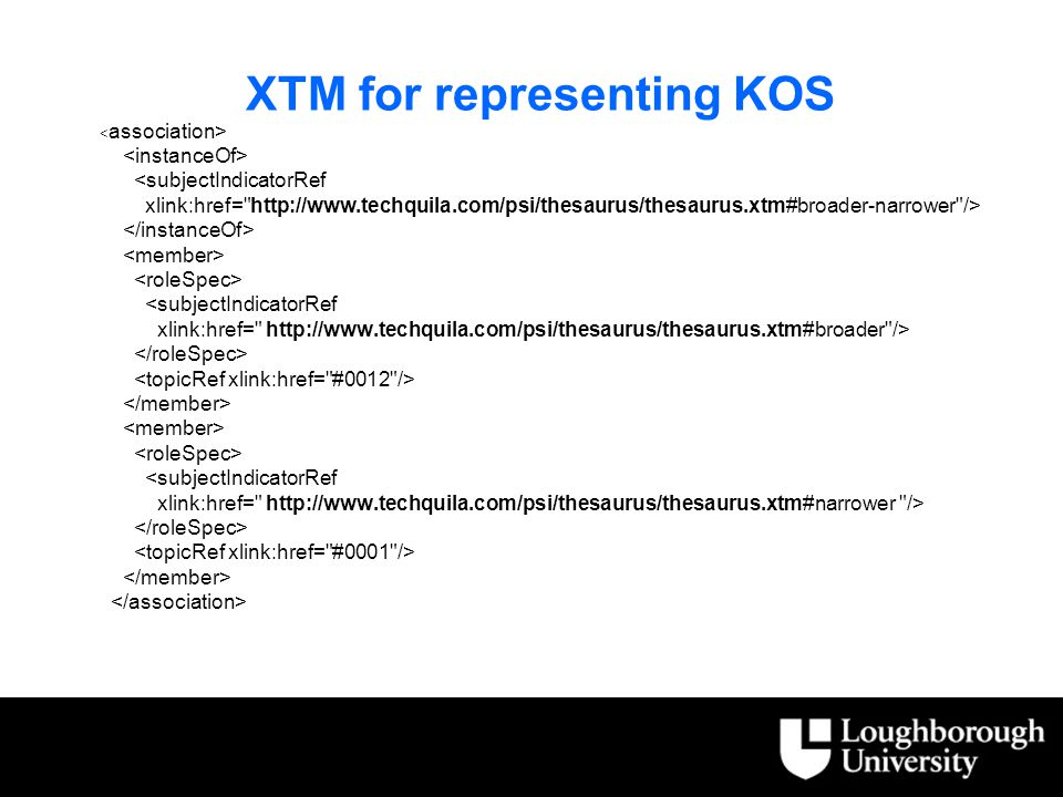 XTM for representing KOS <subjectIndicatorRef xlink:href= http://www.techquila.com/psi/thesaurus/thesaurus.xtm#broader-narrower /> <subjectIndicatorRef xlink:href= http://www.techquila.com/psi/thesaurus/thesaurus.xtm#broader /> <subjectIndicatorRef xlink:href= http://www.techquila.com/psi/thesaurus/thesaurus.xtm#narrower />