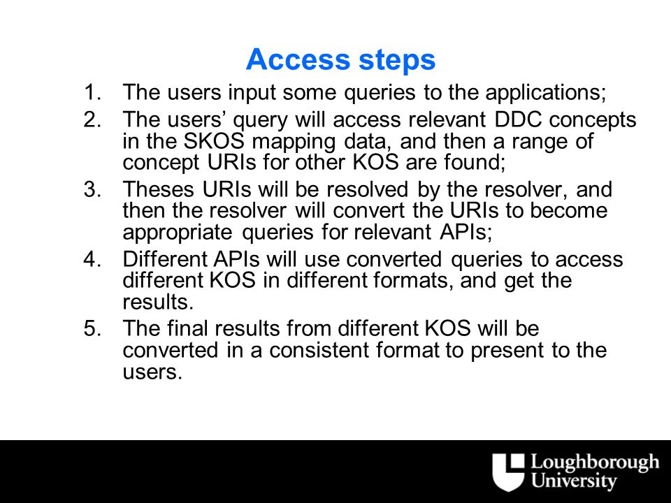 Access steps 1.The users input some queries to the applications; 2.The users' query will access relevant DDC concepts in the SKOS mapping data, and then a range of concept URIs for other KOS are found; 3.Theses URIs will be resolved by the resolver, and then the resolver will convert the URIs to become appropriate queries for relevant APIs; 4.Different APIs will use converted queries to access different KOS in different formats, and get the results.
