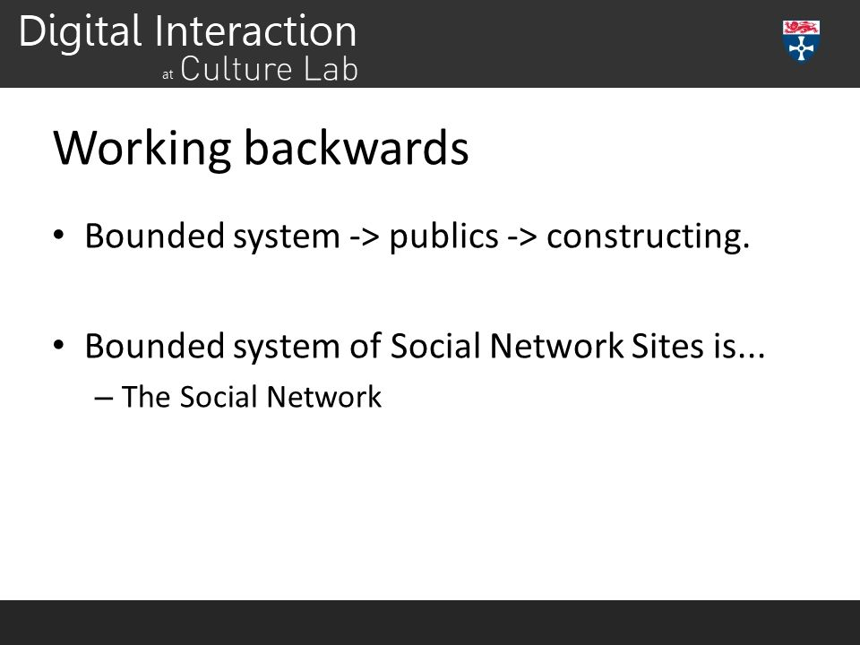 Working backwards Bounded system -> publics -> constructing. Bounded system of Social Network Sites is... – The Social Network