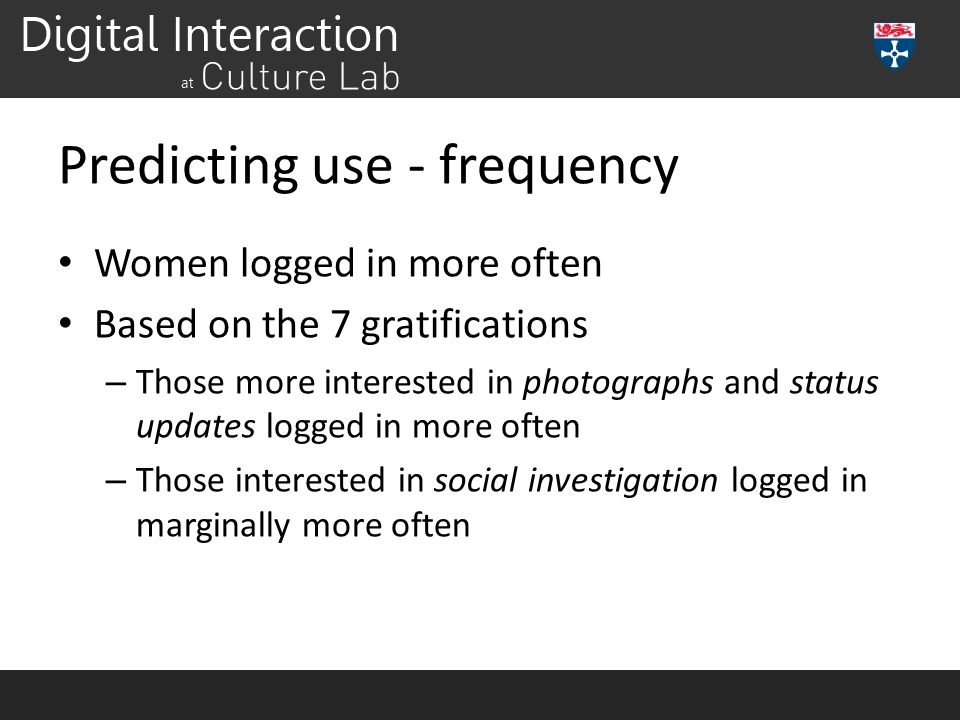 Predicting use - frequency Women logged in more often Based on the 7 gratifications – Those more interested in photographs and status updates logged i