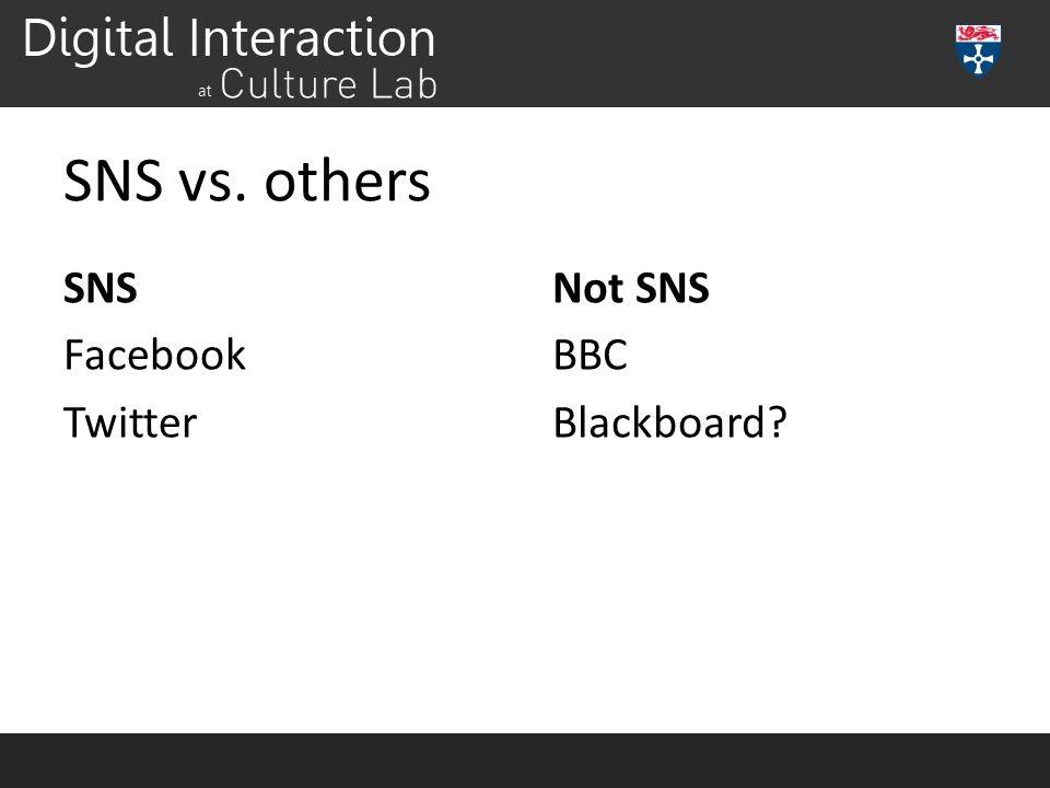 SNS vs. others SNS Facebook Twitter Not SNS BBC Blackboard?