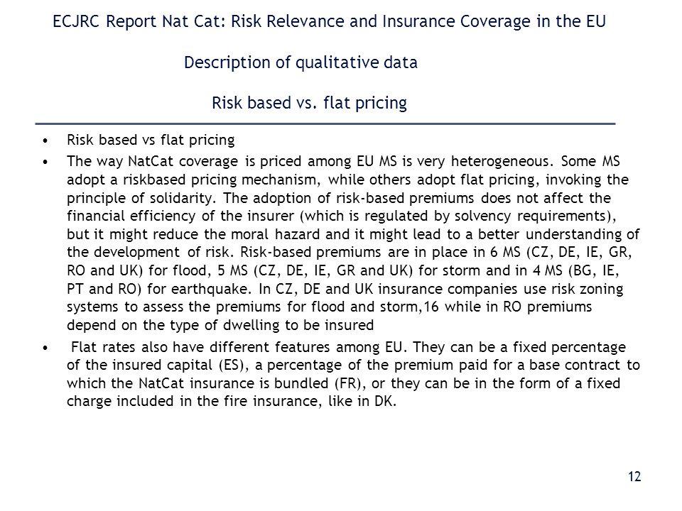 ECJRC Report Nat Cat: Risk Relevance and Insurance Coverage in the EU Description of qualitative data Risk based vs.