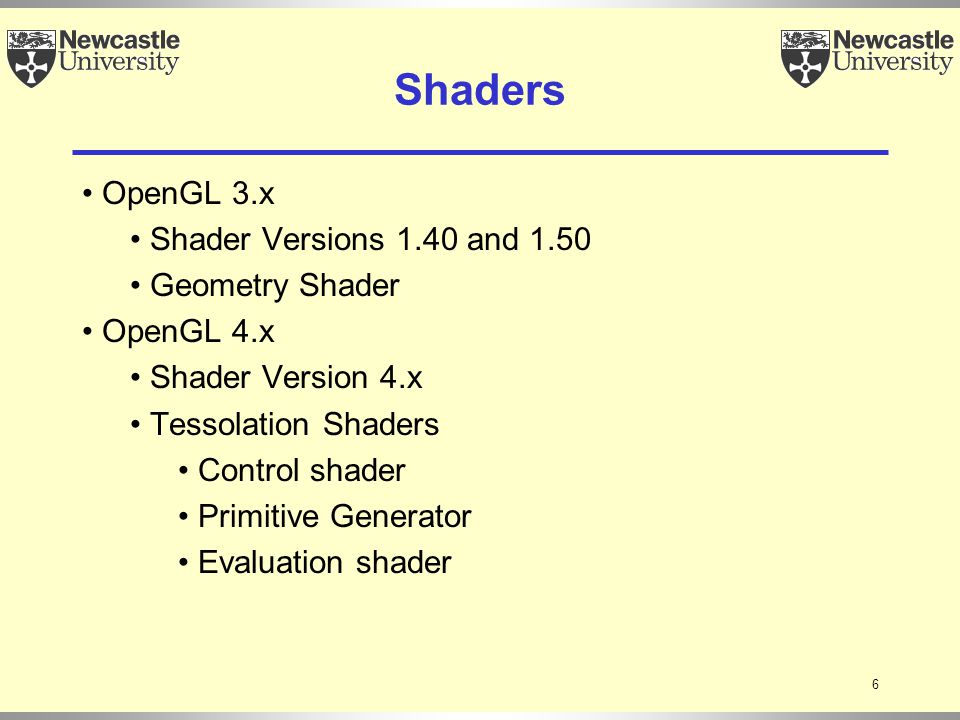 6 Shaders OpenGL 3.x Shader Versions 1.40 and 1.50 Geometry Shader OpenGL 4.x Shader Version 4.x Tessolation Shaders Control shader Primitive Generator Evaluation shader