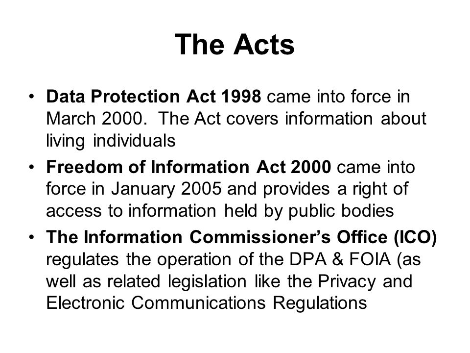 The Acts Data Protection Act 1998 came into force in March 2000.
