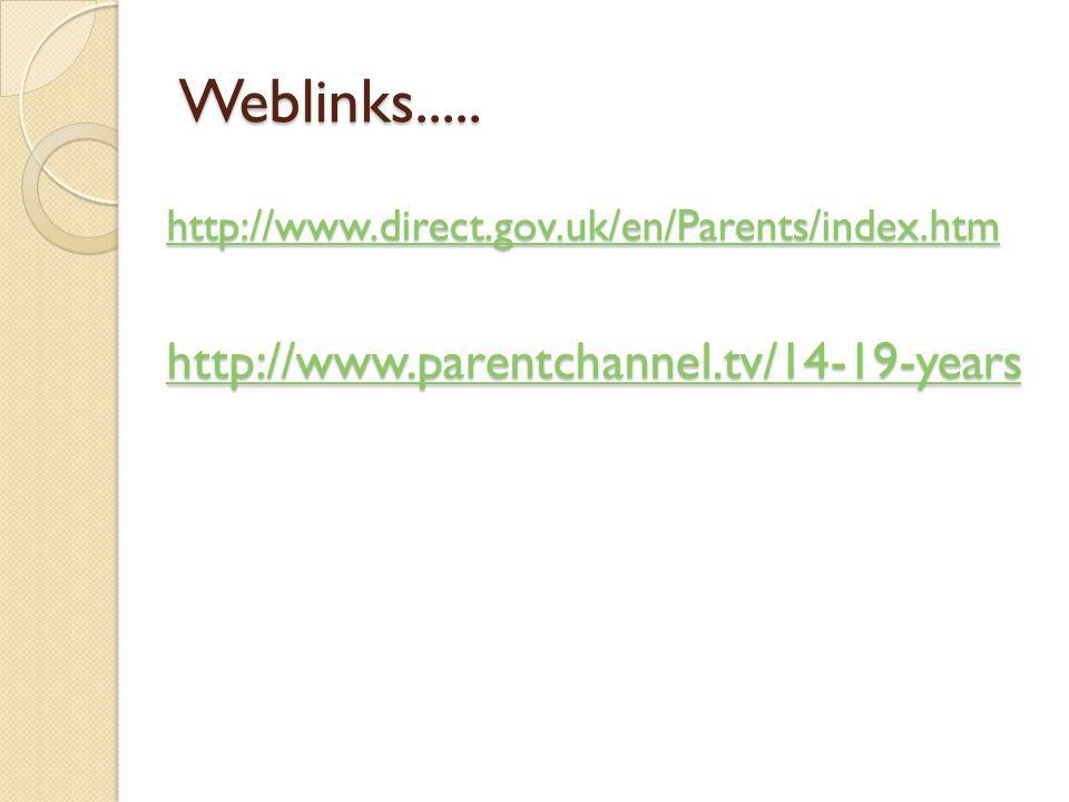 Weblinks..... http://www.direct.gov.uk/en/Parents/index.htm http://www.parentchannel.tv/14-19-years
