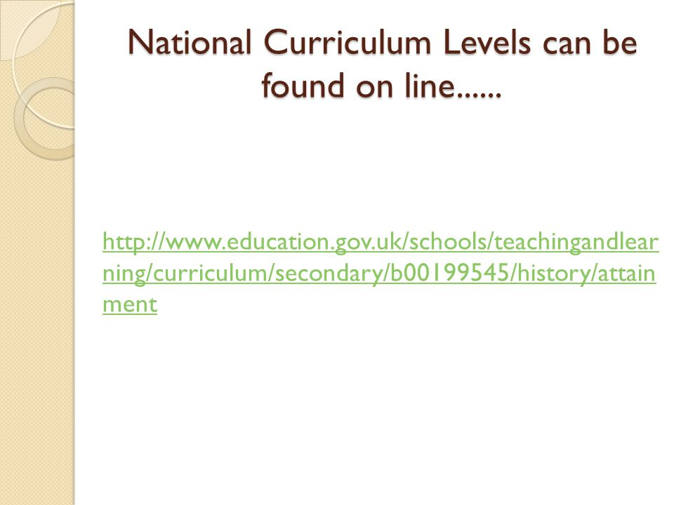 National Curriculum Levels can be found on line......