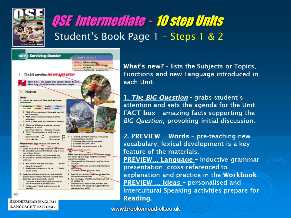 www.brookemead-elt.co.ukwww.brookemead-elt.co.uk Student's Book Page 3 – Step 5 QSE - 10 step Units Different accents – British, American, Scottish, Australian, non-native