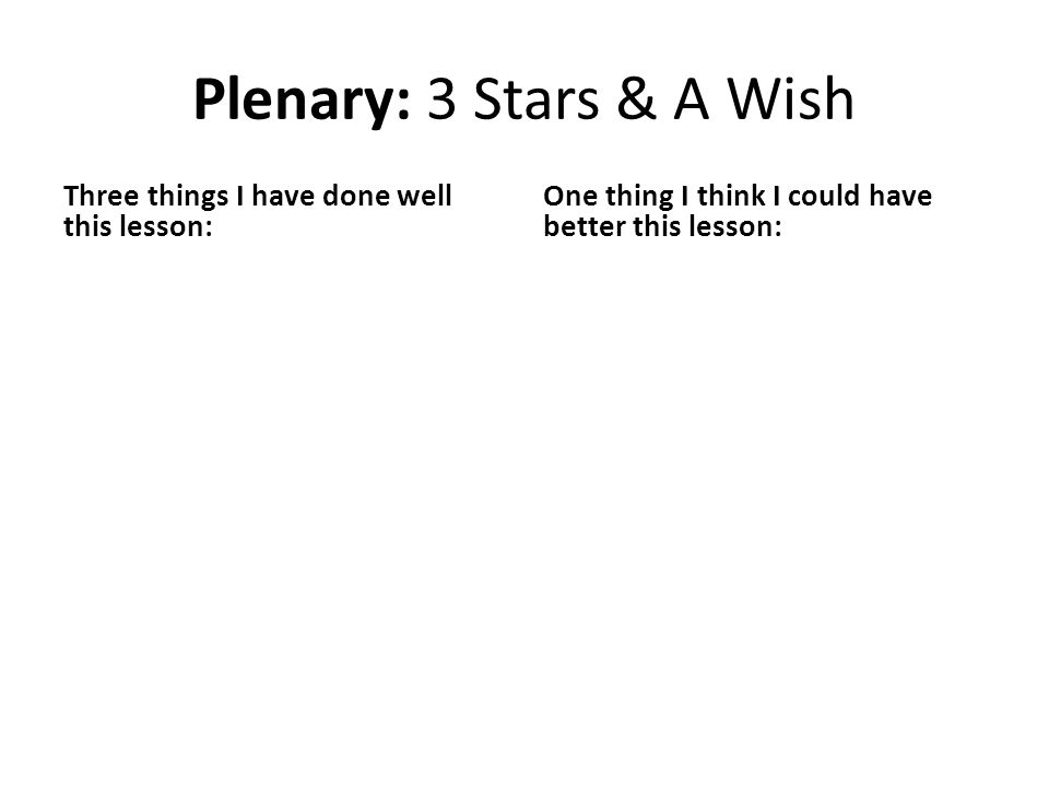 Plenary: 3 Stars & A Wish Three things I have done well this lesson: One thing I think I could have better this lesson:
