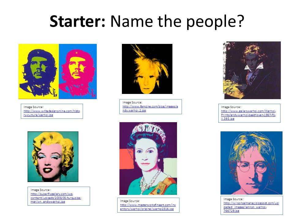 Starter: Name the people.