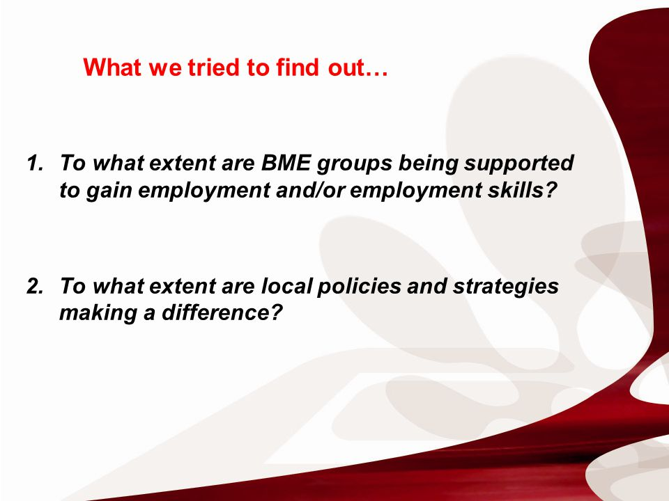 What we tried to find out… 1.To what extent are BME groups being supported to gain employment and/or employment skills.