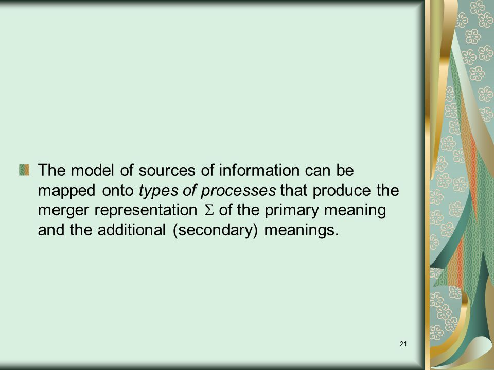 21 The model of sources of information can be mapped onto types of processes that produce the merger representation  of the primary meaning and the additional (secondary) meanings.