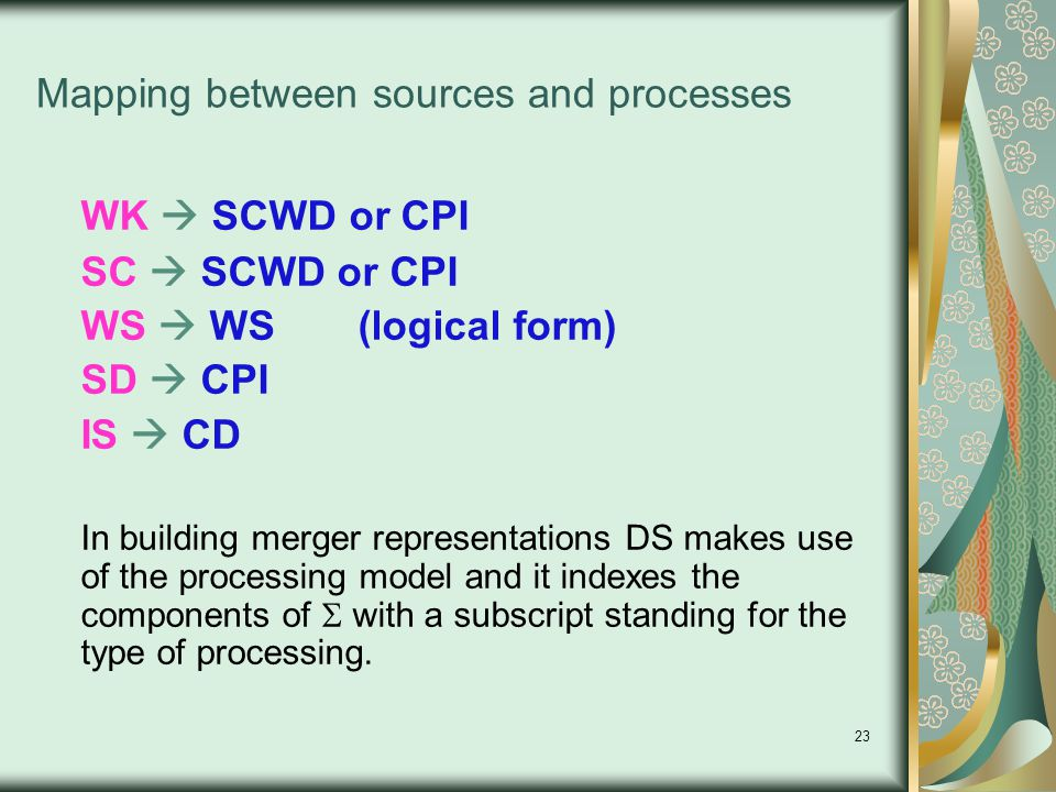 23 Mapping between sources and processes WK  SCWD or CPI SC  SCWD or CPI WS  WS (logical form) SD  CPI IS  CD In building merger representations DS makes use of the processing model and it indexes the components of  with a subscript standing for the type of processing.