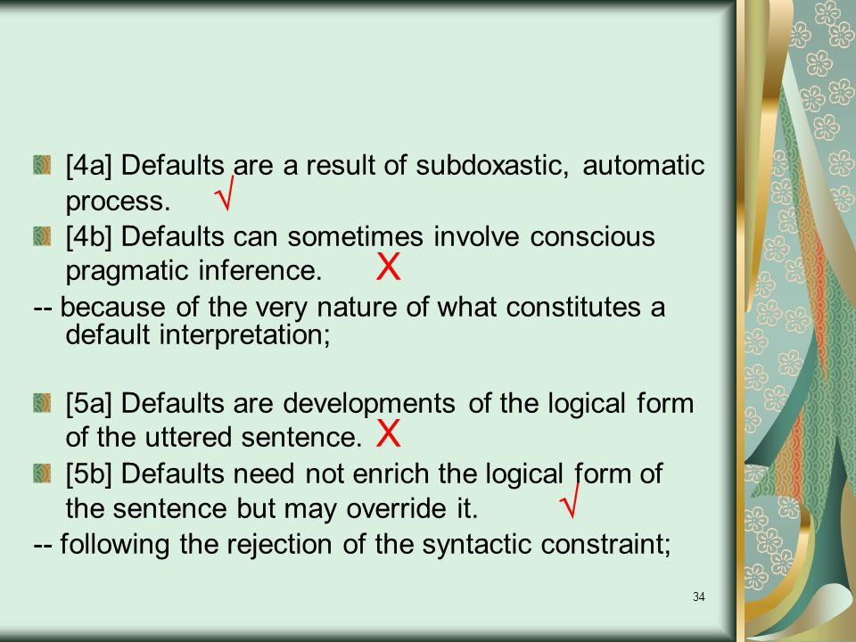 34 [4a] Defaults are a result of subdoxastic, automatic process.