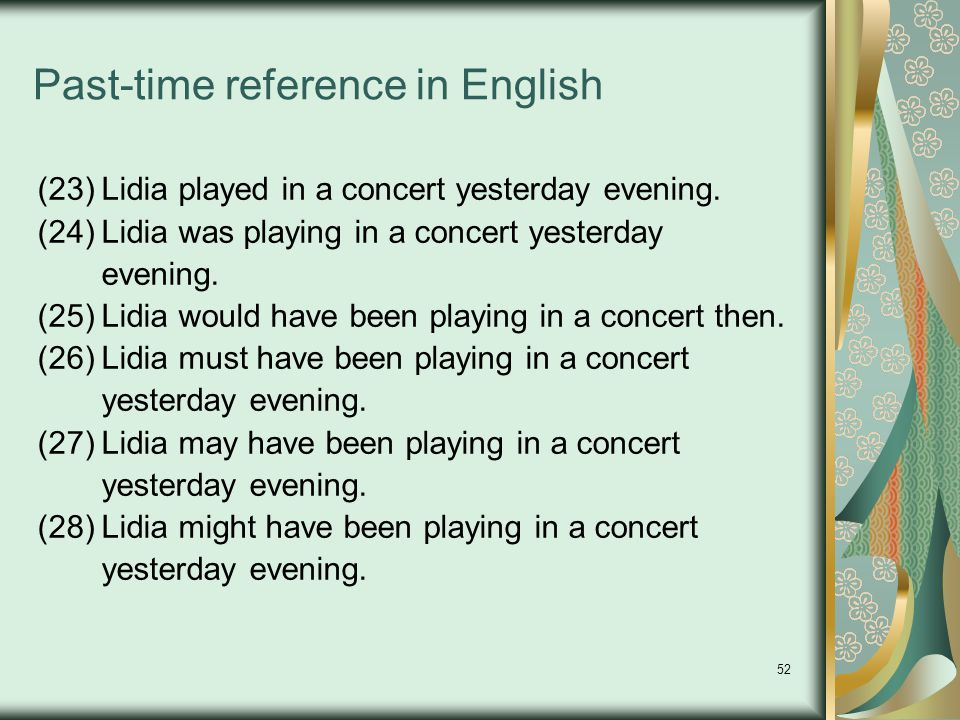 52 Past-time reference in English (23)Lidia played in a concert yesterday evening.
