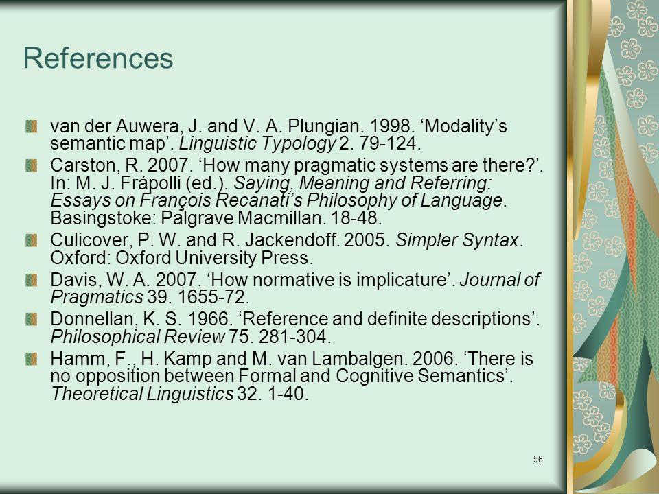 56 References van der Auwera, J. and V. A. Plungian.