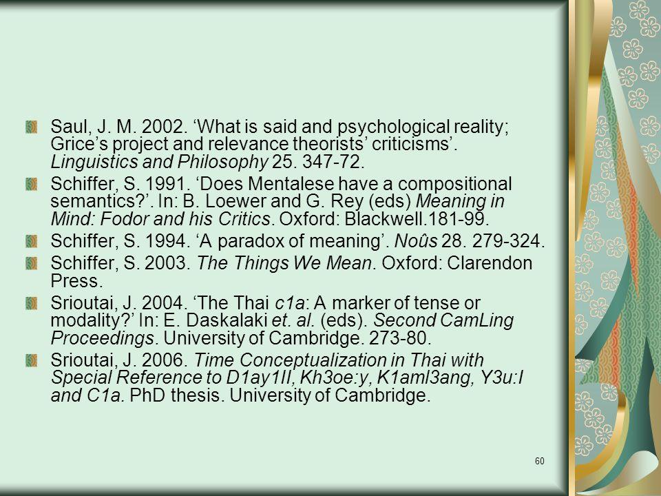 60 Saul, J. M. 2002.