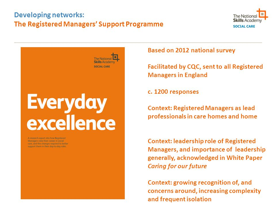 Developing networks: The Registered Managers' Support Programme Based on 2012 national survey Facilitated by CQC, sent to all Registered Managers in E