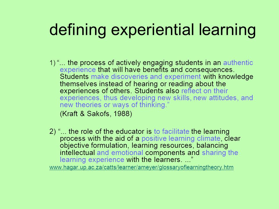 defining experiential learning 1) ...