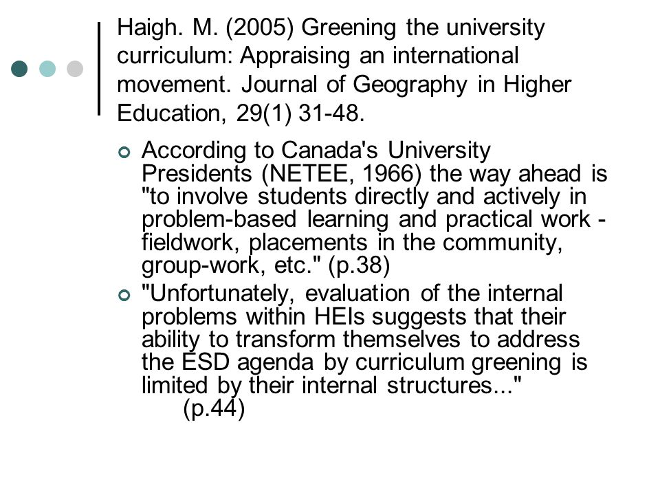 Haigh. M. (2005) Greening the university curriculum: Appraising an international movement. Journal of Geography in Higher Education, 29(1) 31-48. Acco