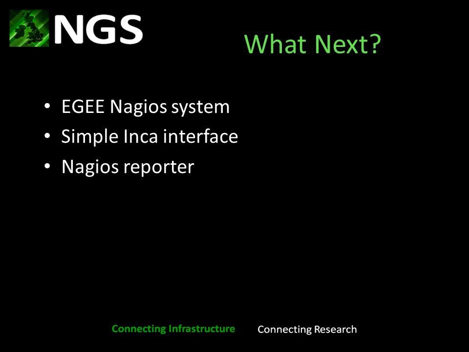 What Next EGEE Nagios system Simple Inca interface Nagios reporter