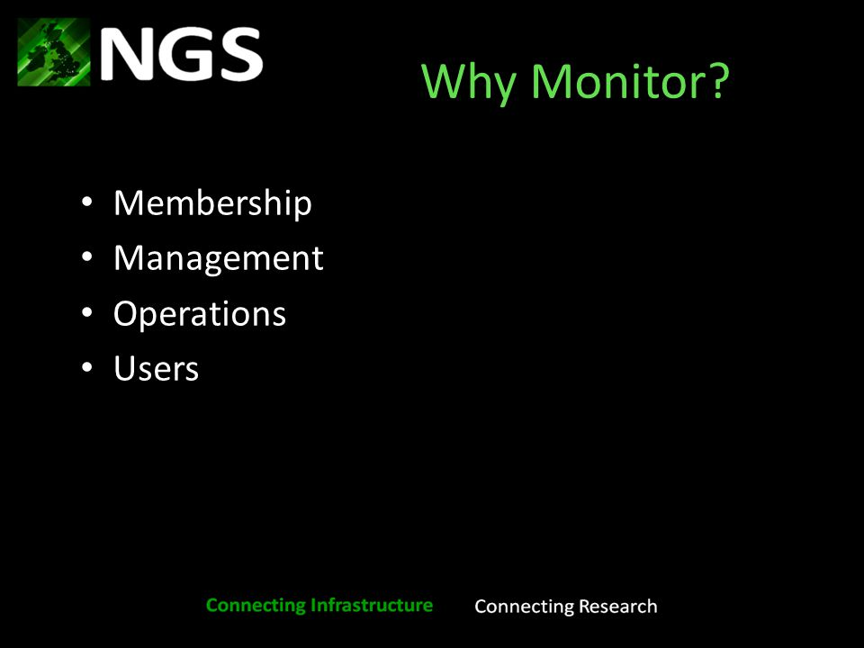 Other monitoring Ganglia http://ganglia.ngs.rl.ac.uk/ Load Monitor http://www.ngs.ac.uk/load- monitor