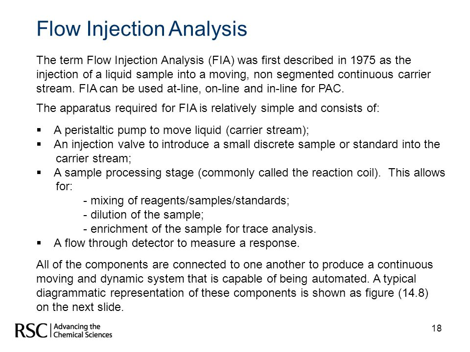 18 Flow Injection Analysis The term Flow Injection Analysis (FIA) was first described in 1975 as the injection of a liquid sample into a moving, non s