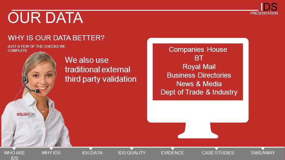 IDS PRESENTATION OUR DATA WHY IS OUR DATA BETTER.