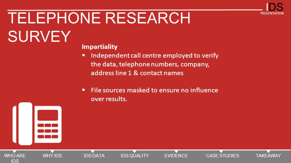 IDS PRESENTATION TELEPHONE RESEARCH SURVEY Impartiality  Independent call centre employed to verify the data, telephone numbers, company, address line 1 & contact names  File sources masked to ensure no influence over results.