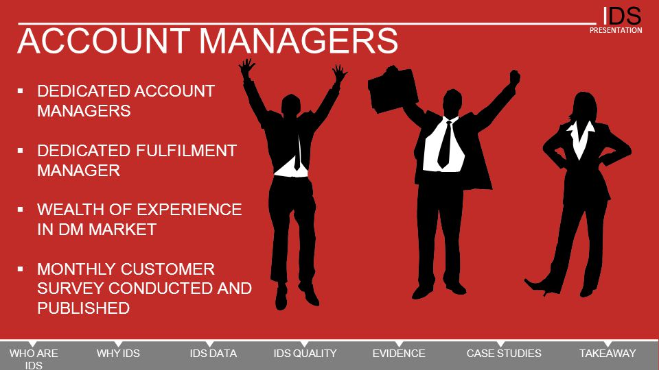 IDS PRESENTATION ACCOUNT MANAGERS  DEDICATED ACCOUNT MANAGERS  DEDICATED FULFILMENT MANAGER  WEALTH OF EXPERIENCE IN DM MARKET  MONTHLY CUSTOMER SURVEY CONDUCTED AND PUBLISHED IDS BECOME AN INTEGRAL PART OF YOUR DM ACTIVITY WHO ARE IDS WHY IDSIDS DATAIDS QUALITYEVIDENCECASE STUDIESTAKEAWAY