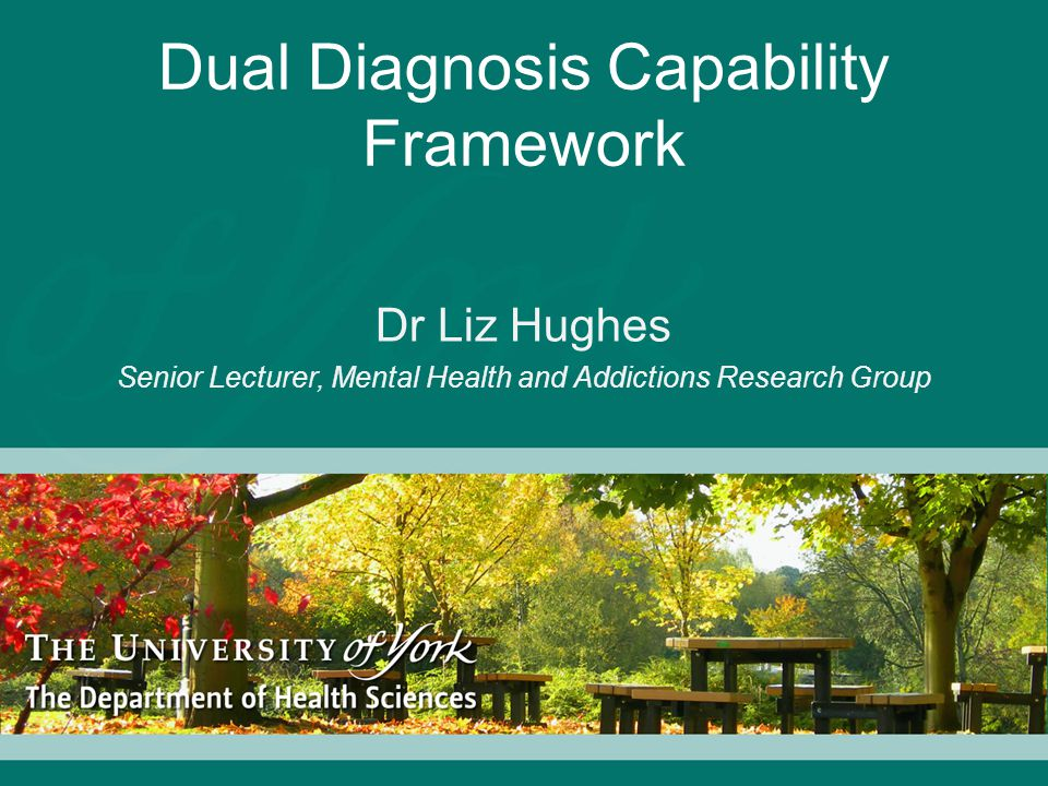 Dual Diagnosis Capability Framework Dr Liz Hughes Senior Lecturer, Mental Health and Addictions Research Group