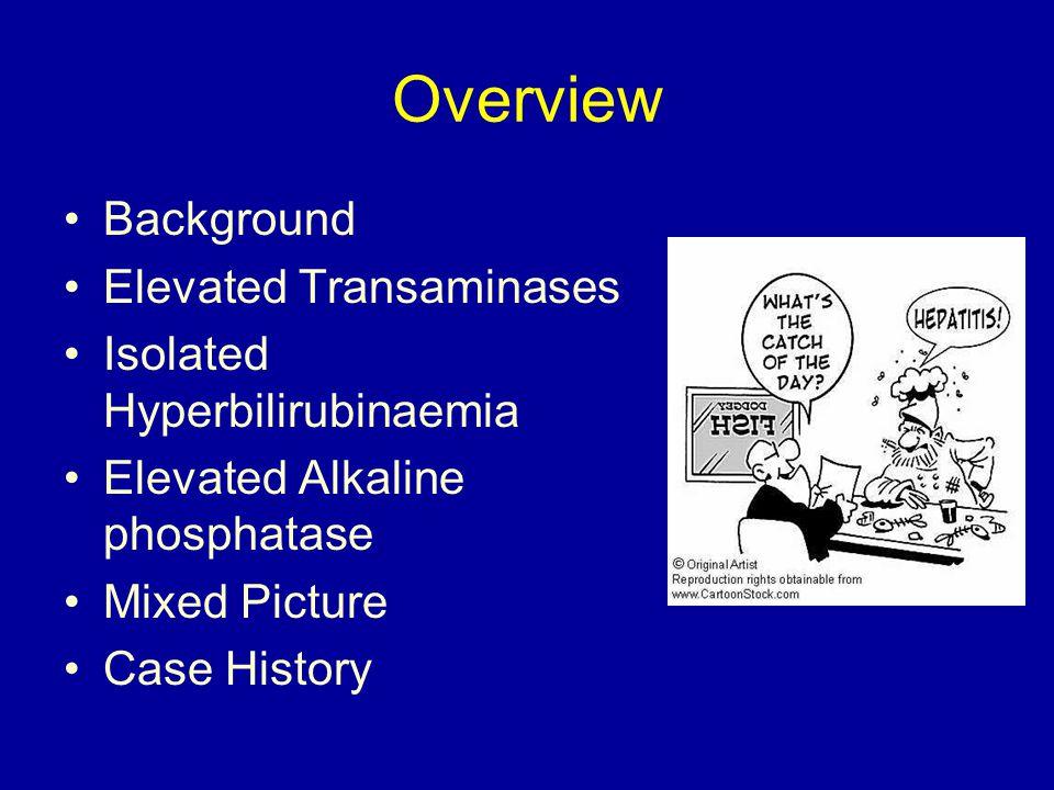Overview Background Elevated Transaminases Isolated Hyperbilirubinaemia Elevated Alkaline phosphatase Mixed Picture Case History