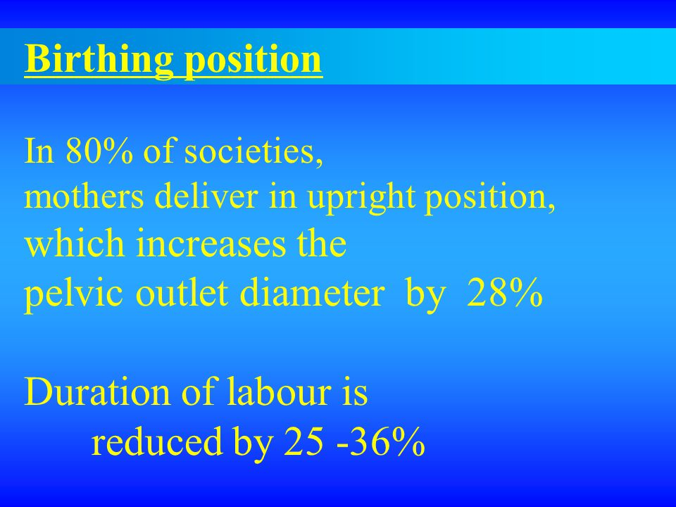 Birthing position In 80% of societies, mothers deliver in upright position, which increases the pelvic outlet diameter by 28% Duration of labour is reduced by 25 -36%