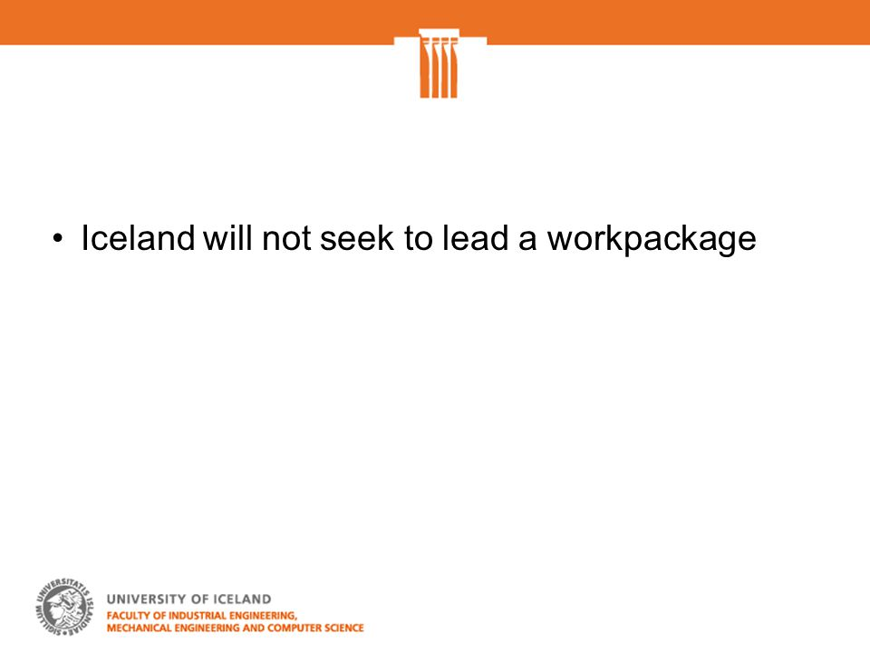 Iceland will not seek to lead a workpackage