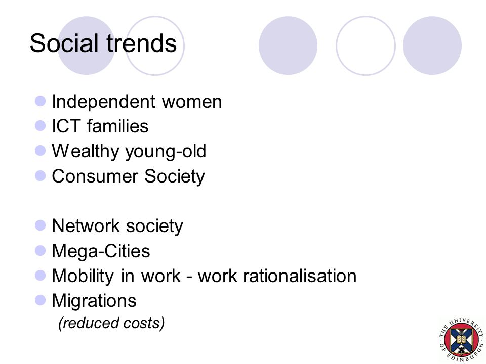 Social trends Independent women ICT families Wealthy young-old Consumer Society Network society Mega-Cities Mobility in work - work rationalisation Migrations (reduced costs)