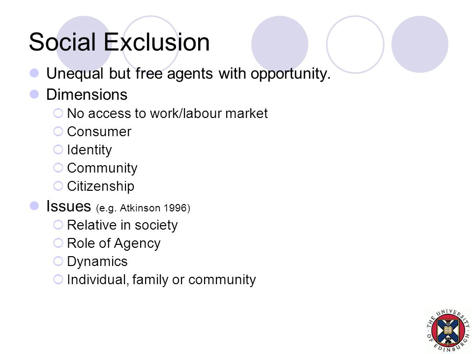 Social Exclusion Unequal but free agents with opportunity.