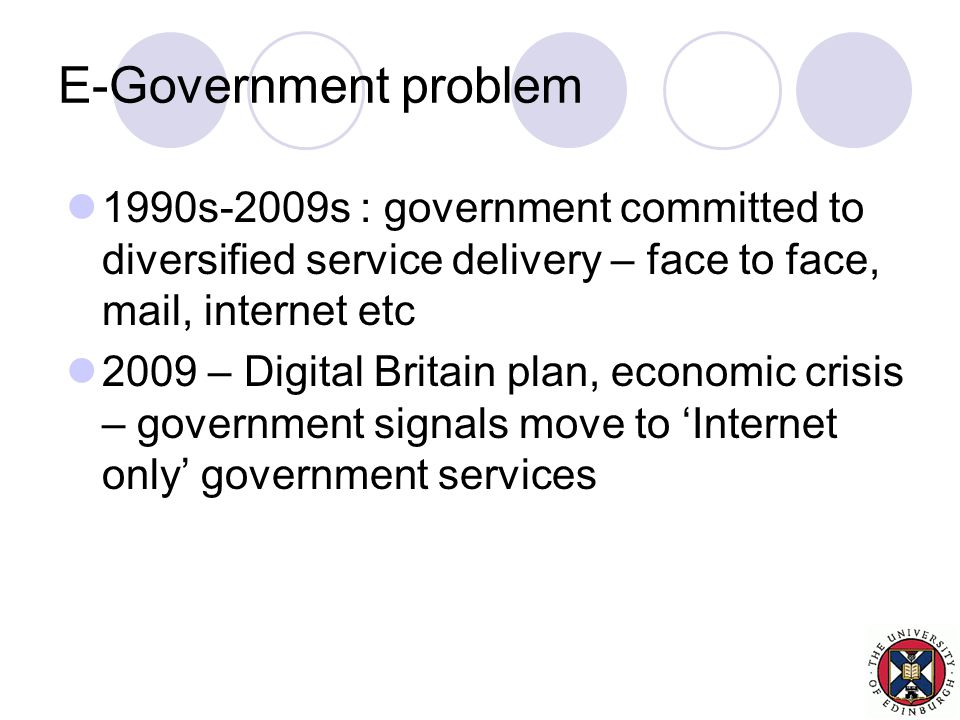 E-Government problem 1990s-2009s : government committed to diversified service delivery – face to face, mail, internet etc 2009 – Digital Britain plan, economic crisis – government signals move to 'Internet only' government services